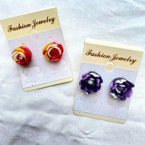 Floral Stud Earrings - Set of 2